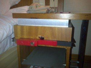 BloxSafe around hotel bedside drawer